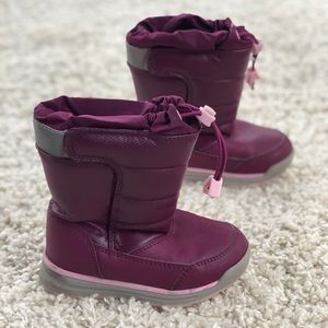 Lands End Purple Bungee Fleece Lined Snow Boots